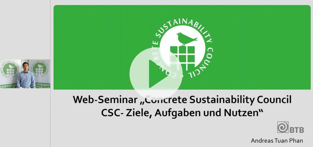 """Web-Seminar """"Concrete Sustainability Council:  Ziele, Aufgaben und Nutzen"""